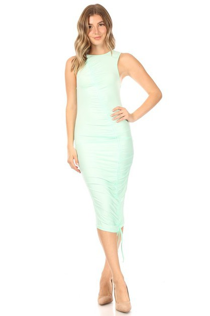 Sleeveless Drawstring Ruched Dress - orangeshine.com