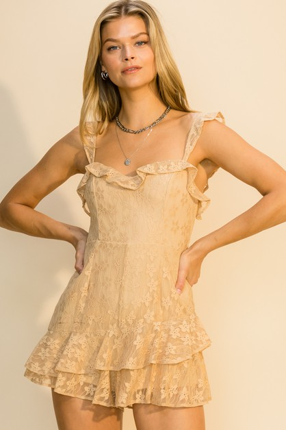 LACE ROMPER WITH RUFFLE TRIM - orangeshine.com