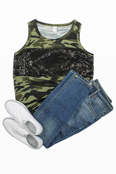 Sequin and Camouflage Tank Top - orangeshine.com