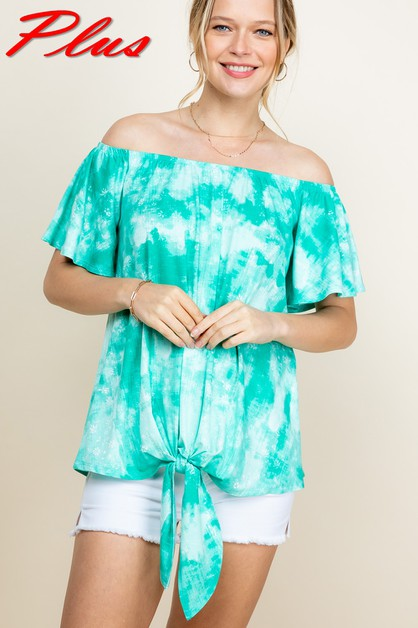 TIE DYE OFF SHOULDER TIEBTM PLUS TOP - orangeshine.com