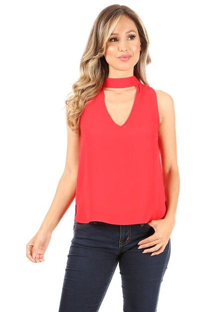 Solid sleeveless top - orangeshine.com