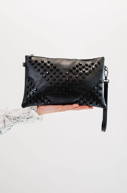 Black studded clutch crossbody - orangeshine.com