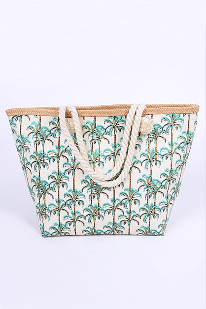 Palm Leaf Printed Straw Summer Tote - orangeshine.com