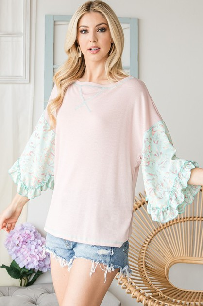 FLORAL HALF SLEEVE COLORBLOCK TOP - orangeshine.com