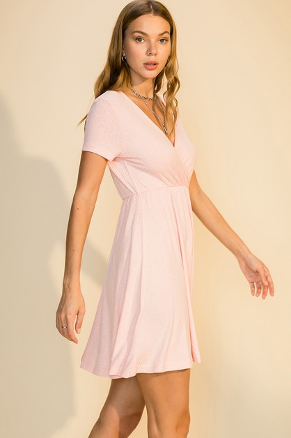 SHORT SLEEVE SURPLICE KNEE DRESS - orangeshine.com
