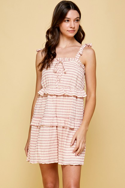 STRIPE SUNDRESS WITH MOCK TIE STRAPS - orangeshine.com
