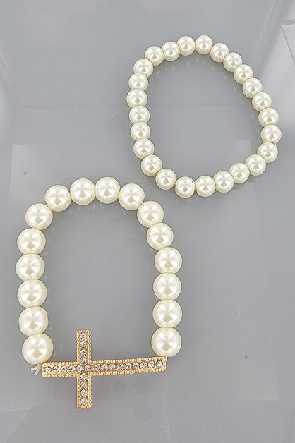 2-pc Cross Pearl Bracelet Set - orangeshine.com