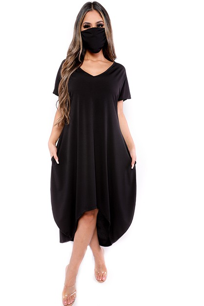 HI LOW MIDI DRESS WITH MASK - orangeshine.com