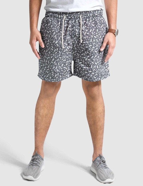 Mens Patterned Blue Swim Shorts - orangeshine.com
