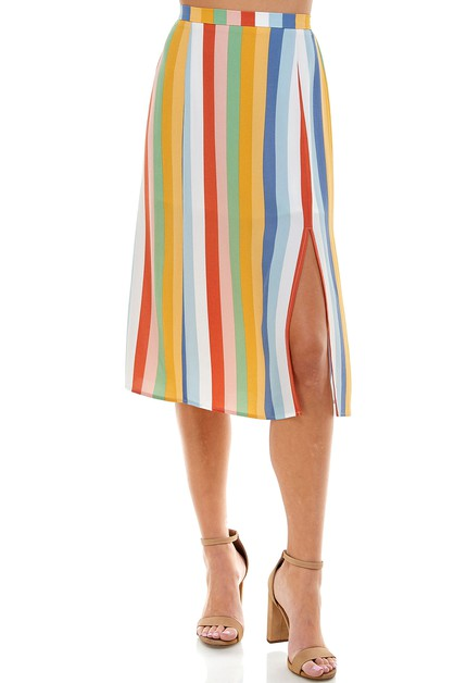 RAINBOW STRIPED SKIRT WITH THIGH SLI - orangeshine.com