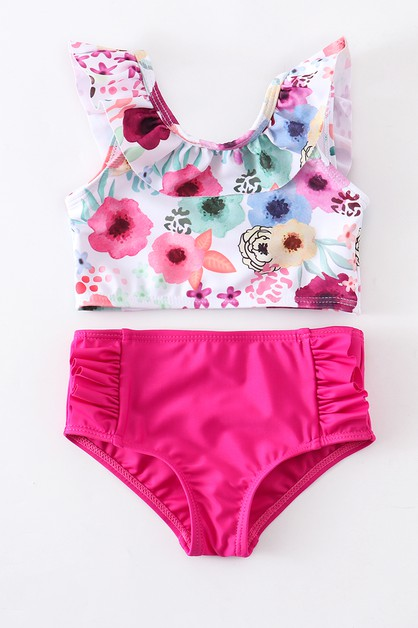 Pink floral 2 PCs swim suit - orangeshine.com