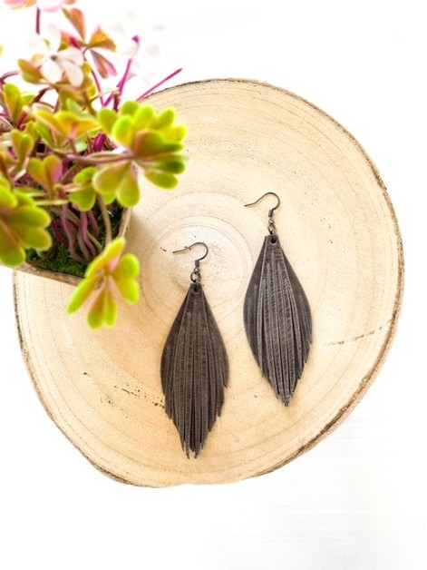Grey Double Fringe Leather Earrings - orangeshine.com