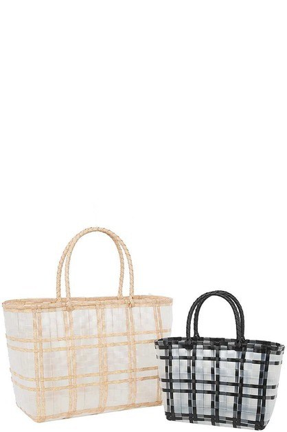 2IN1 TWO TONE CHECKERED CLEAR TOTE B - orangeshine.com
