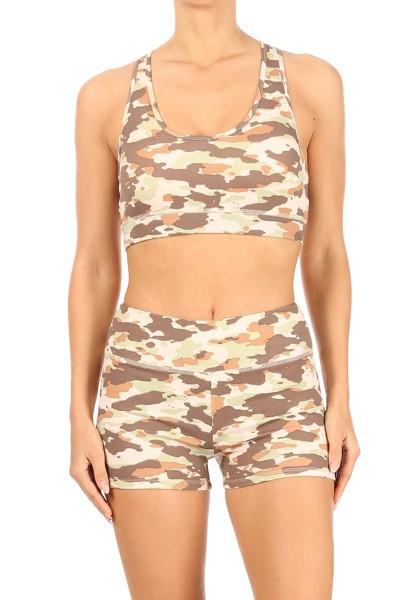 Camo Active Sets Shorts Sports bras - orangeshine.com