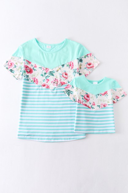 Mint chevron floral mommy me shirt - orangeshine.com