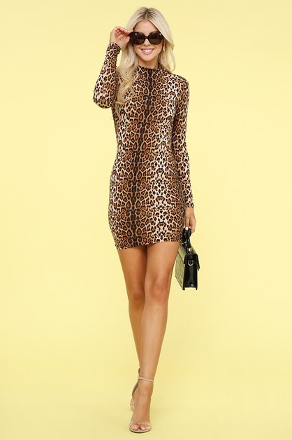 Tiger print long sleeve dress - orangeshine.com