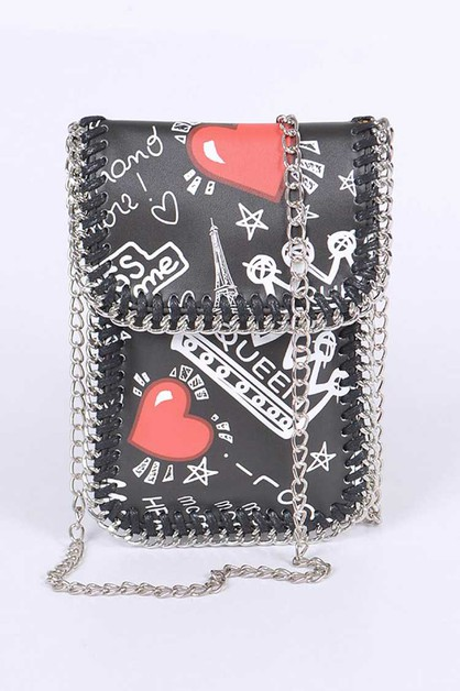 Paris Graffiti Phone Swing Bag - orangeshine.com