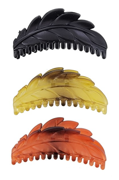 3-pc Leaf Shape Hair Claw Clip Set - orangeshine.com