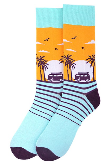 Mens Tropical Sunset Novelty Socks - orangeshine.com