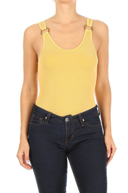 Thick Ribbed Solid Bodysuits Tops - orangeshine.com