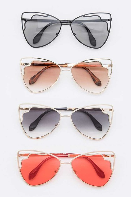 Cutout Iconic Cat Eye Sunglasses Set - orangeshine.com