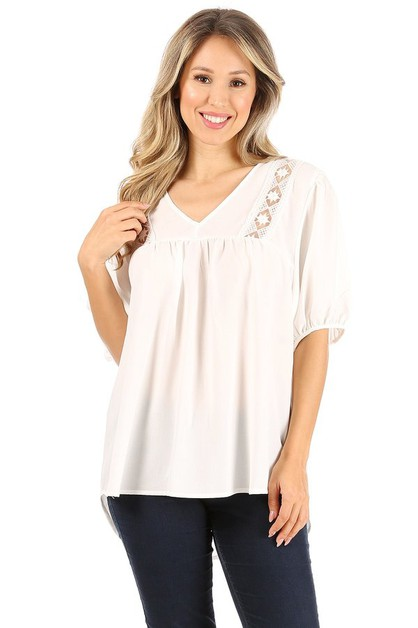 Short sleeve top with v-neckline and - orangeshine.com