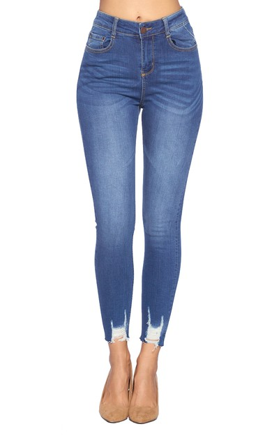 High Rise Ankle Stretch Jeans - orangeshine.com