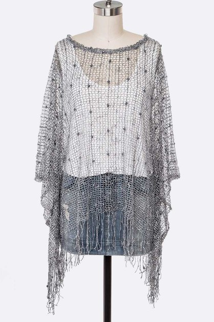 Lurex Lace Loose Knit Poncho - orangeshine.com