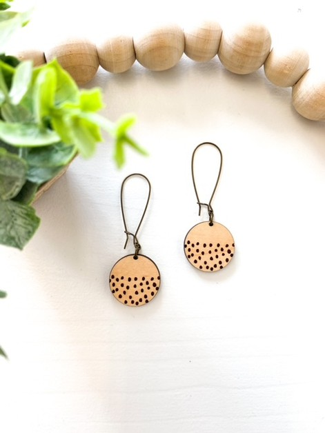 Round dot dangle wood earrings - orangeshine.com