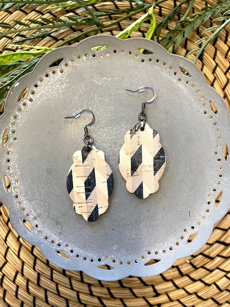 Geometric Neutral Leather Earrings - orangeshine.com
