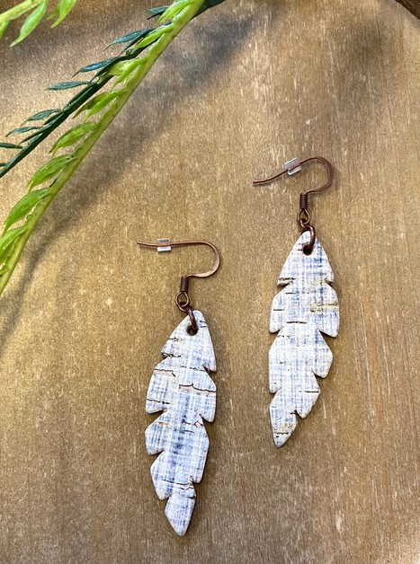 Light Blue Feather Leather Earrings - orangeshine.com