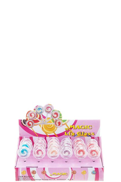 SWIRL LOLLIPOP DESIGN LIPGLOSS 24 PC - orangeshine.com