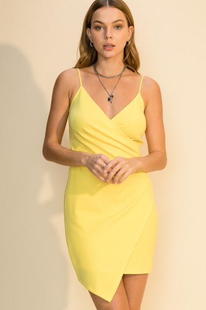 SURPLICE ASSYMETRICAL DRESS - orangeshine.com