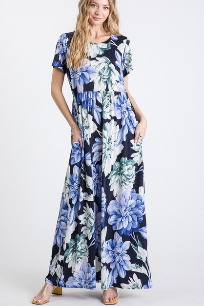 FLORAL MAXI DRESS WITH RUFFLED - orangeshine.com