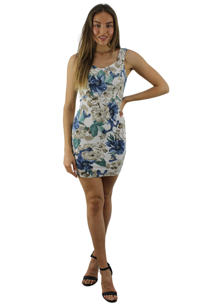 White Mini Floral Dress - orangeshine.com
