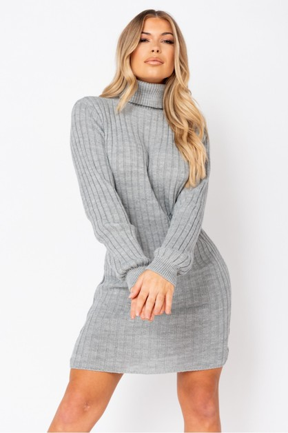 Rib Knit Roll Neck Jumper Dress - orangeshine.com