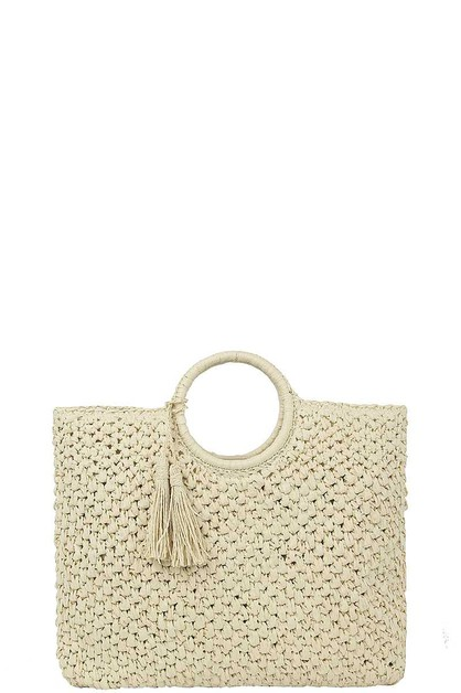 WOVEN STRAW TASSEL ROUND HANDLE TOTE - orangeshine.com