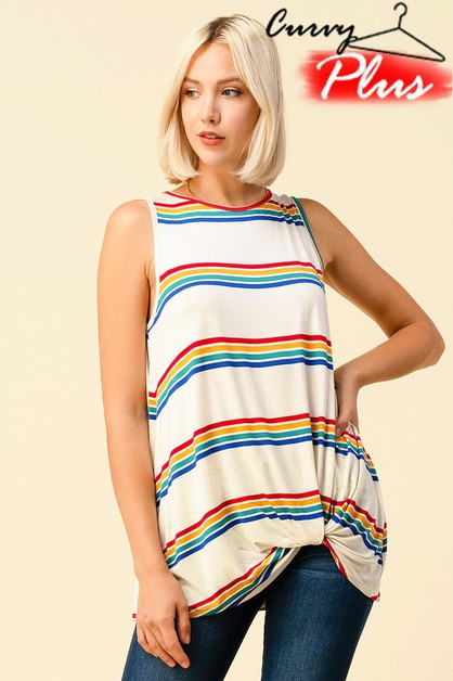 MULTI STRIPED TWISTED FRONT KNOT TOP - orangeshine.com