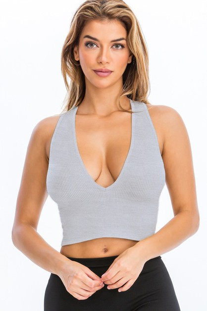 Seamless Deep V-Neck Ribbed Crop Top - orangeshine.com