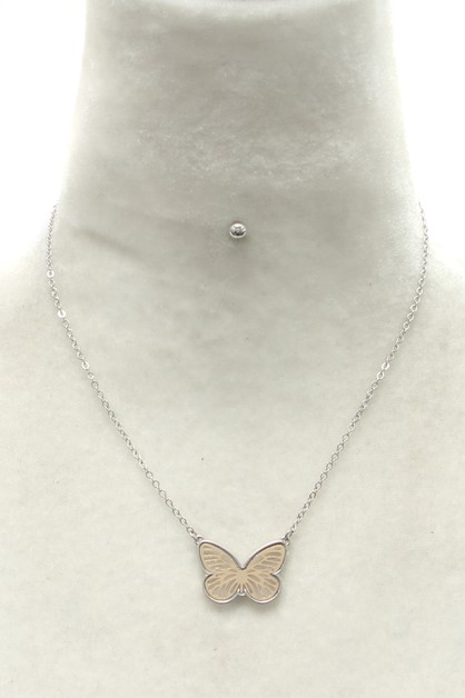 METAL BUTTERFLY  NECKLACE SET - orangeshine.com