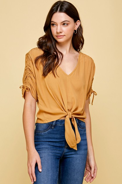 SHORT SLEEVE V NECK WOVEN TAUPE TOP - orangeshine.com