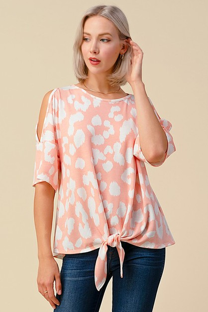 LEOPARD PRINT OPEN SLEEVE TOP - orangeshine.com