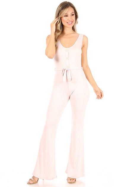 Solid jumpsuit with flared legs - orangeshine.com