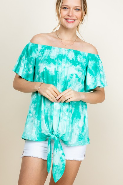 TIE DYE OFF SHOULDER TIE BTTM TOP - orangeshine.com