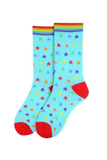 Womens Rainbow Stars Novelty Socks - orangeshine.com