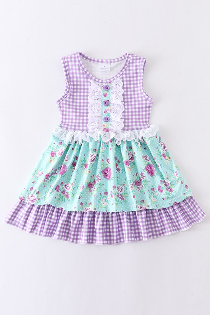 Lavender floral lace dress - orangeshine.com