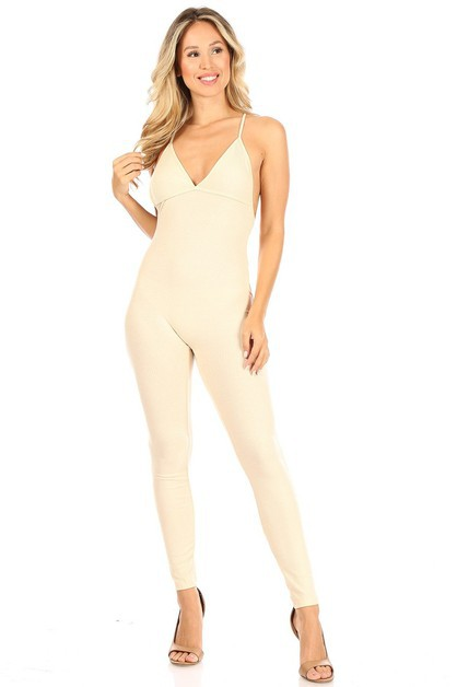 V neck Backless Rib Jumpsuit - orangeshine.com