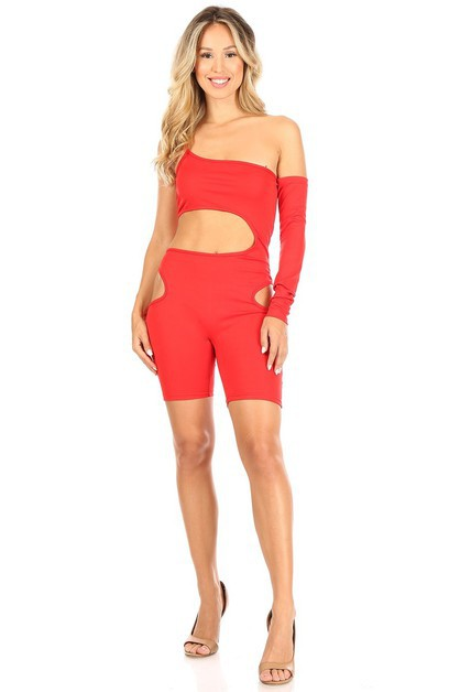 Asymmetric Cut Hallow-out Jumpsuit - orangeshine.com