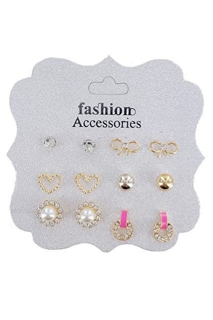 6-Pair Multi Earring Set - orangeshine.com