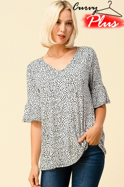 LEOPARD PRINT V-NECK BELL SLEEVE TOP - orangeshine.com